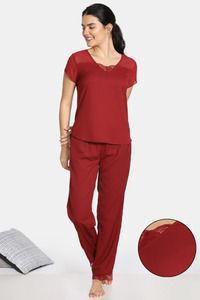 Buy Zivame Bridal Trousseau Polyester Pyjama Set - Maroon