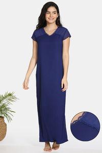 Buy Zivame Bridal Trousseau Polyester Full Length Nightdress - Navy