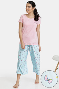 Buy Zivame Slumber Chic Knit Cotton Capri Set - Lt Blue