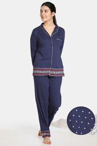 Buy Zivame Nordic Nights Knit Cotton Pyjama Set - Navy