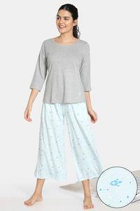 Buy Zivame Starstruck Knit Cotton Blend Capri Set - Lt Blue
