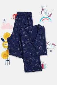 Buy Zivame GRL Unicorn Print Cotton Pyjama Set - Navy