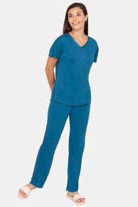 Buy Zivame Matte & Shine Viscose Pyjama Set - Teal