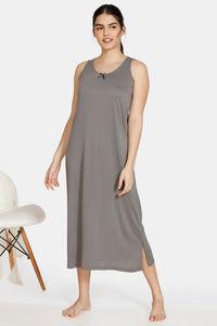 Buy Zivame Matte & Shine Viscose Mid Length Nightdress - Grey