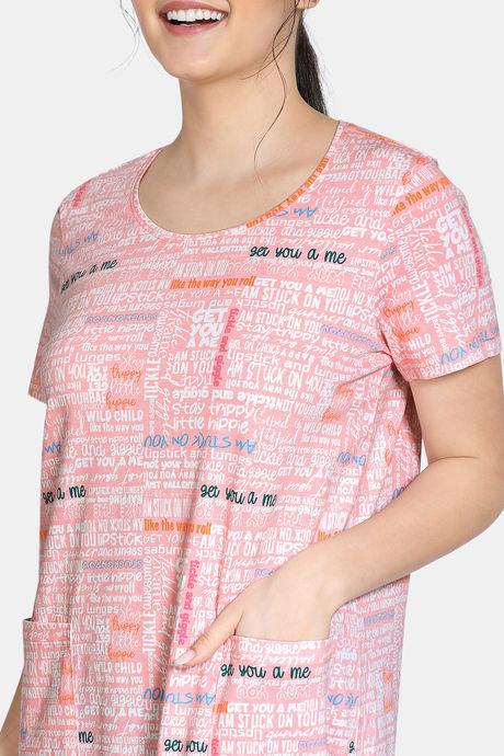 Zivame Fun & Frolic Knit Cotton Full Length Nightdress - Pink