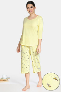 Buy Zivame Paper Town Knit Cotton Capri Set - Yellow