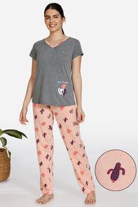 Buy Zivame Texas Dreaming Knit Cotton Pyjama Set - Peach