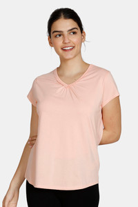 Buy Zivame Texas Dreaming Knit Cotton Top - Peach