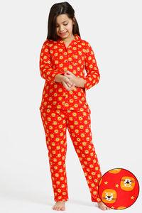 Buy Zivame GRL Knit Cotton Pyjama Set - Red