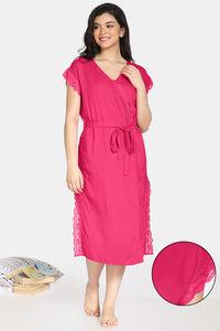 Buy Zivame Bridal Trousseau Rayon Mid Length Robe - Pink