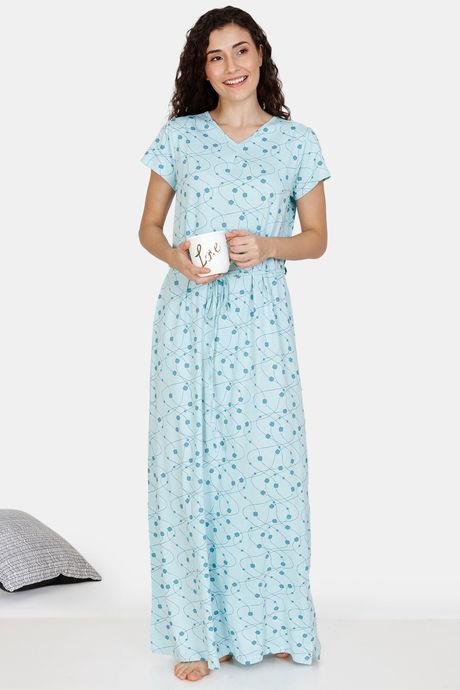 Zivame In Rhythm Cotton Full Length Nightdress - Blue