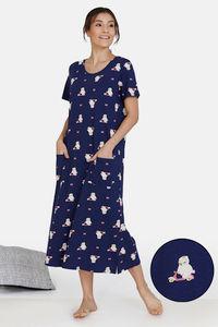 Buy Zivame Three Musketeers Cotton Mid Length Nightdress - Blue