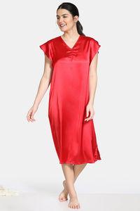 Buy Zivame Soft Ruffles Satin Mid Length Nightdress - Red