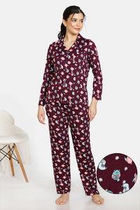 Buy Zivame Sleepy Owl Butter-Soft Poly Knit Pyjama Set - Pickle Beet