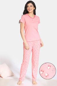Buy Zivame Sleepy Owl Cotton Pyjama Set - Pink Ice