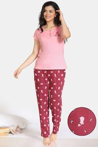Buy Zivame Pretty Pigs Cotton Pyjama Set - Rhododendron