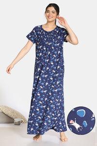 Buy Zivame Barnyard Cotton Full Length Nightdress - Navy Blue