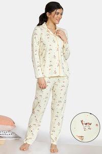 Buy Zivame Barnyard Cotton Pyjama Set  - Yellow