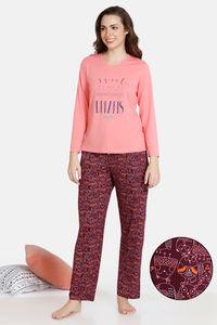 Buy Zivame Sleepy Owl Butter-Soft Poly Knit Pyjama Set - Fruit Dove