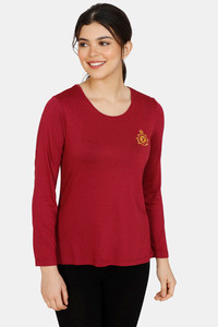 Buy Zivame Classic Woven Knit Top - Maroon