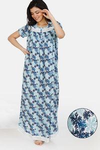 Buy Zivame Snowflakes Rayon Full Length Nightdress - Blue