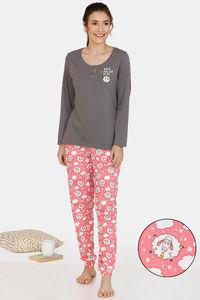 Buy Zivame Crazy Farm Cotton Pyjama Set - Grey Pink