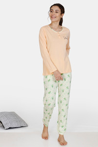 Buy Zivame Tree Of Life Cotton Pyjama Set - Yellow