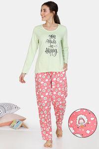 Buy Zivame Crazy Farm Cotton Pyjama Set - Pink Green