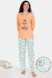Buy Zivame Crazy Farm Cotton Pyjama Set - Green Orange
