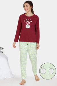 Buy Zivame Crazy Farm Cotton Pyjama Set - Green Maroon