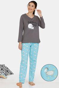 Buy Zivame Crazy Farm Cotton Pyjama Set - Grey Blue