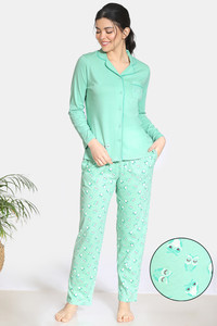 Buy Zivame Sleepy Owl Cotton Pyjama Set - Green