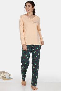 Buy Zivame Tree Of Life Cotton Pyjama Set - Grey Orange