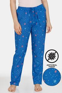 Buy Zivame Snowflakes Antiviral Finish Rayon Pyjama - Nebulas Blue