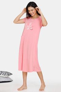 Buy Zivame My Besties Cotton Mid Length Nightdress - Salmon Rose