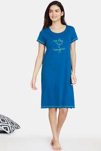 Buy Zivame My Besties Knit Cotton DRESS - Teal Blue