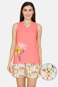 Buy Zivame Pretty Floral Woven Shorts Set -Tender Peach