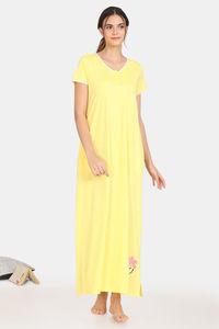 Buy Zivame Pretty Floral Rayon Full Length Nightdress - Yellow Cream