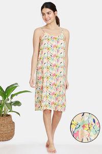 Buy Zivame Pretty Floral Rayon Knee Length Nightdress - Tender Peach