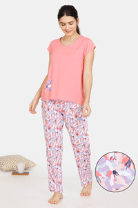 Buy Zivame Pretty Floral Rayon Pyjama Set - Violet Tulip