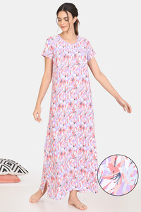 Buy Zivame Pretty Floral Rayon Full Length Nightdress - Violet Tulip