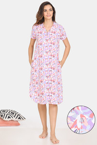 Buy Zivame Pretty Floral Rayon Mid Length Nightdress - Violet Tulip