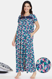 Buy Zivame Pretty Floral Rayon Full Length Nightdress - Medieval Blue
