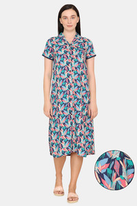 Buy Zivame Pretty Floral Woven Mid Calf Length Nighty - Medieval Blue