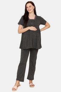 Buy Zivame Maternity Poly Cotton Pyajama Set - Anthra Melange