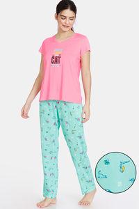 Buy Zivame Her World Cotton Pyajama Set - Aruba Blue
