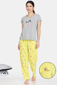 Buy Zivame Her World Knit Cotton Pyajama Sets - Aurora