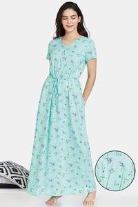 Buy Zivame Her World Cotton Full Length Nightdress - Aruba Blue