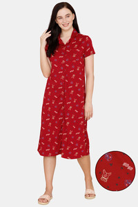 Buy Zivame Her World Knit Cotton Mid Length Nightdress - Beet Red