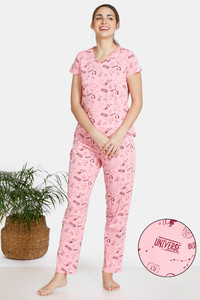 Buy Zivame Galaxy Print Cotton Pyjama Set - Candy Pink